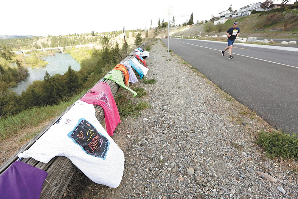 T-shirts of past Bloomsdays past decorated the top of Doomsday Hill Sunday. - YOUNG KWAK PHOTO