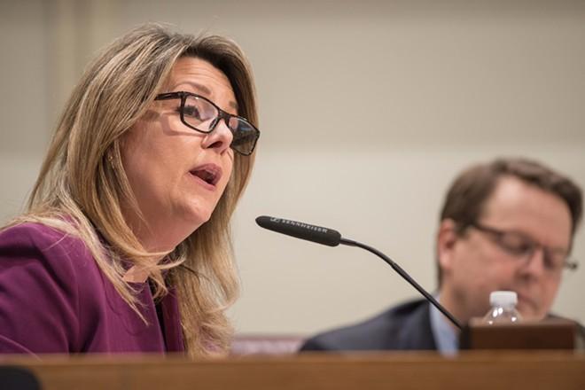 Nadine Woodward wants Spokane on its own reopening plan. - DANIEL WALTERS PHOTO