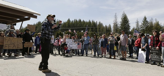 """North Idaho Pastor Warren Campbell laments that Christians are """"throwing away"""" their """"heritage"""" at an April rally. - YOUNG KWAK PHOTO"""