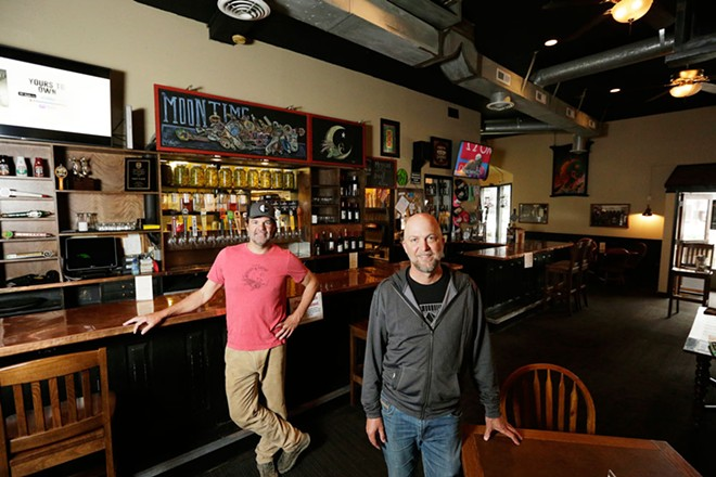 Moon Time owners Brad Fosseen, left, and John Grollmus at their restaurant in Coeur d'Alene. - YOUNG KWAK