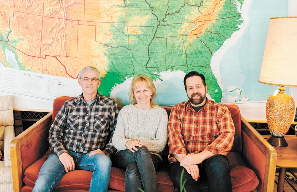 Boulevard Mercantile owners David Jeffers, Joellen Jeffers and Dan Webb. - DANIELLE ROBERTS PHOTO