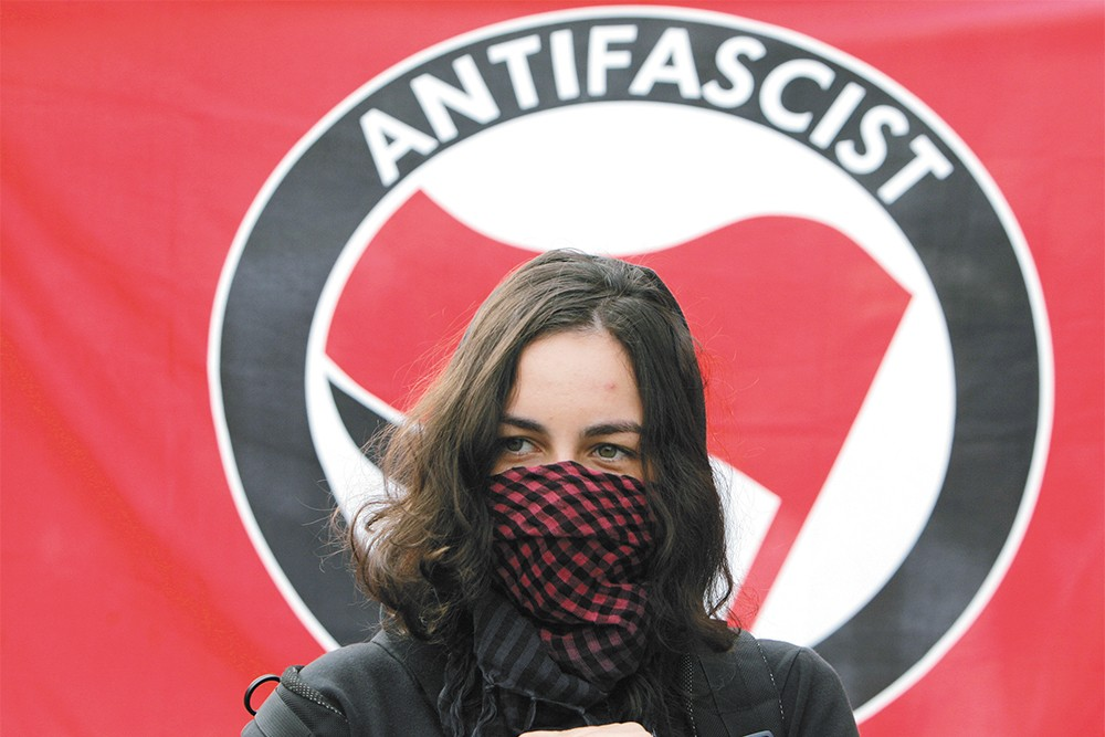 Antifa activists do exist, like this woman in Bulgaria, but evidence of antifa at recent Spokane protests is questionable at best.