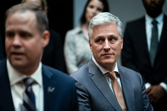 National Security Adviser Robert O'Brien, shown at the White House in Washington, on Oct. 18, 2019, has tested positive for the coronavirus, the White House said on Monday, July 27, 2020, making him the most senior White House official known to have contracted the virus. - ERIN SCHAFF/THE NEW YORK TIMES