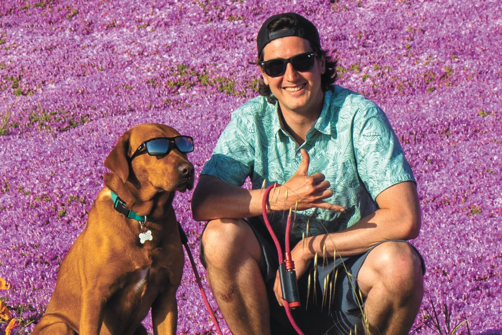 NOBO Pets owner Evan Purcell and Bodhi the dog, who inspired the company's flagship product. - NOBO PHOTO