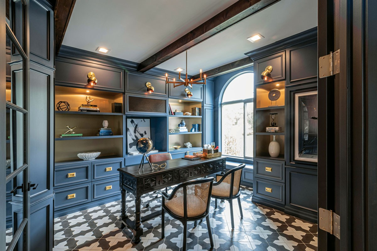 Design for the PPL's Erin Haskell Gourde redesigned this standard-issue home office for a client who wanted a dramatic Old World feel. - PHOTO COURTESY OF DESIGN FOR THE PPL