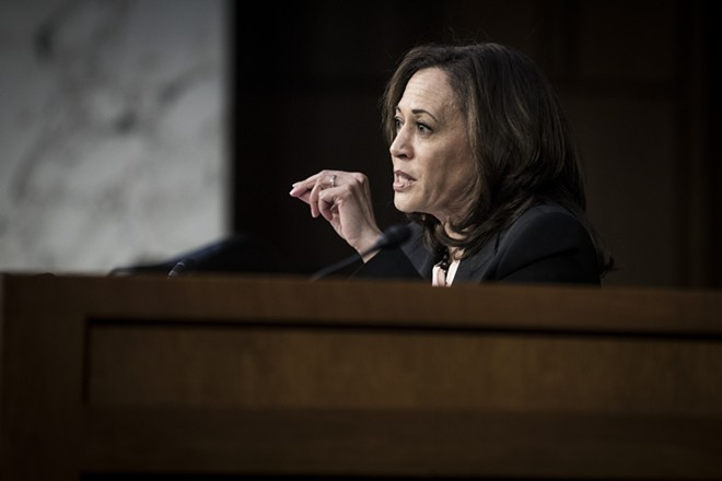 Sen. Kamala Harris (D-Calif.) questions William Barr, President Donald Trump's nominee for attorney general, during Barr's confirmation hearing before the Senate Judiciary Committee in Washington, Jan. 15, 2019. - SARAH SILBIGER/THE NEW YORK TIMES