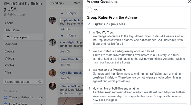 "Facebook pages like #EndChildTrafficking USA discourage trusting ""factcheckers"" and media outlets reports about sex trafficking. - FACEBOOK SCREENSHOT"