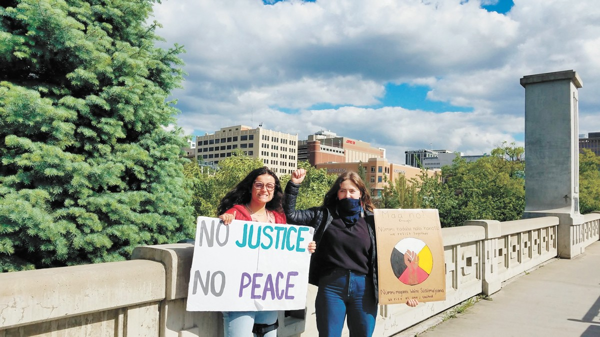 Young people in action: Sarah Hegde, left, and Ivy Pete.