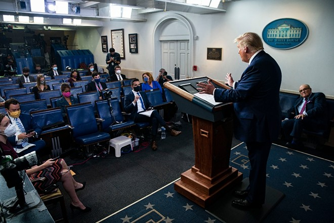 "President Donald Trump speaks during a news conference at the White House in Washington, Sept. 27, 2020. Trump shifted his position overnight on a sweeping New York Times investigative report on his taxes, falsely accusing the paper on Monday of using ""illegally obtained information"" after initially saying on Sunday that the article was ""totally fake news."" - AL DRAGO/THE NEW YORK TIMES"