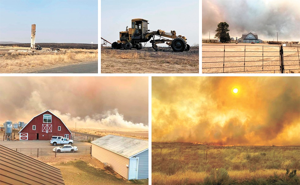 The Cold Spring Canyon Fire in Okanogan and Douglas counties threatened Mansfield, rapidly growing and helping spark the Pearl Hill Fire, which burned into Bridgeport. The two fires would burn more than 175,000 acres within 24 hours and more than 410,000 acres total. - CORA NORDBY PHOTOS