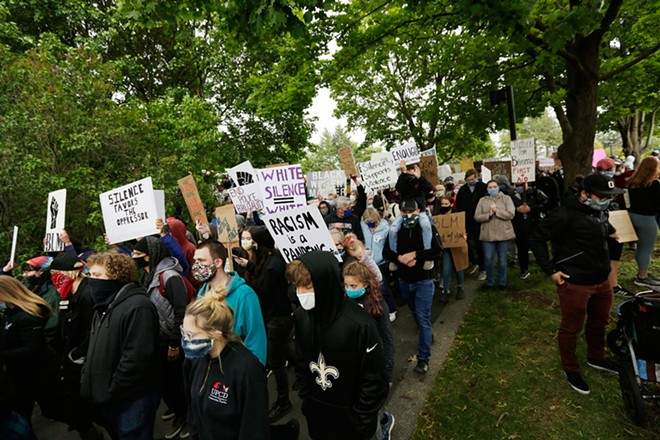 Anti-racist activists in Spokane march in support of Breonna Taylor, who was killed by Louisville police officers. - YOUNG KWAK