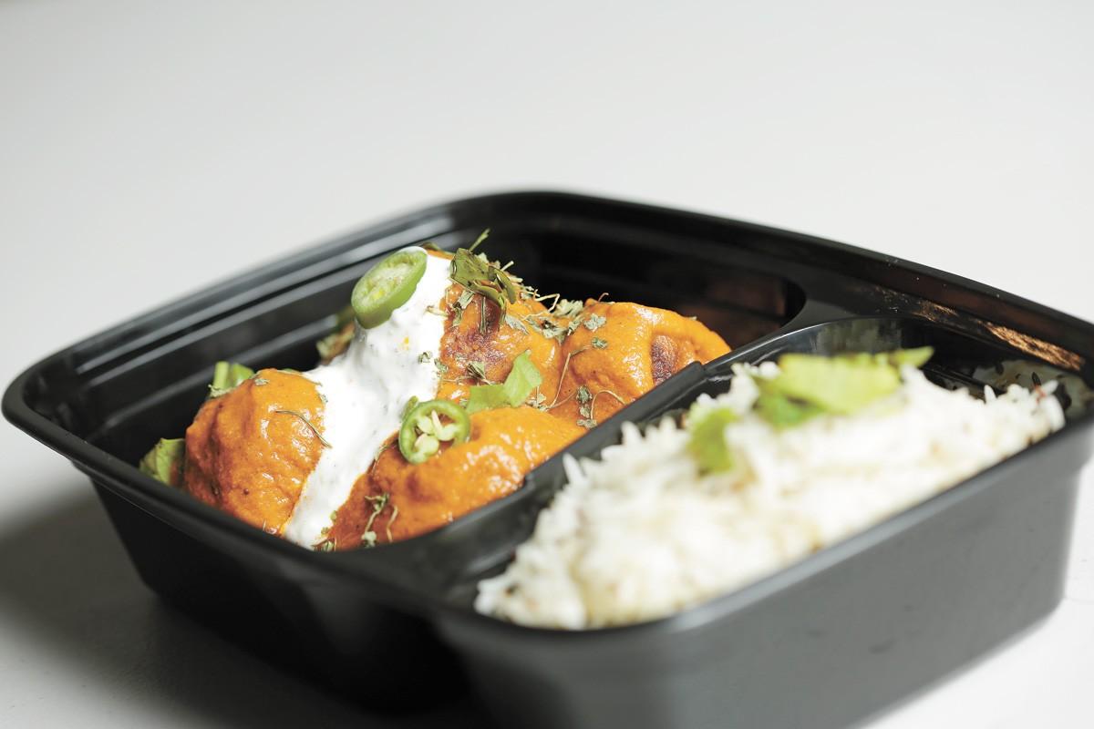 Inland Curry's beef kofta with cumin rice. - YOUNG KWAK PHOTO