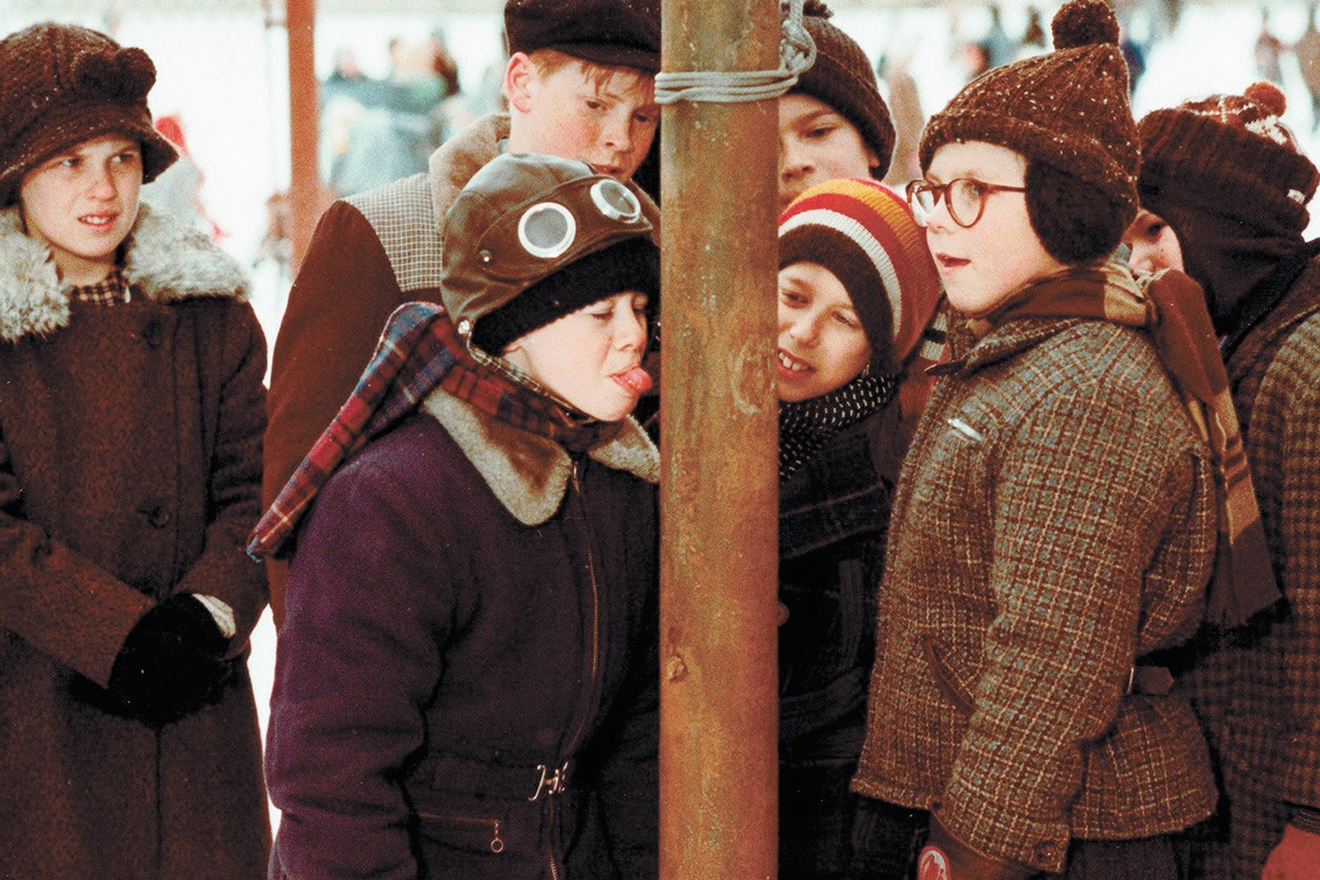 Do not try this stunt from A Christmas Story at home.