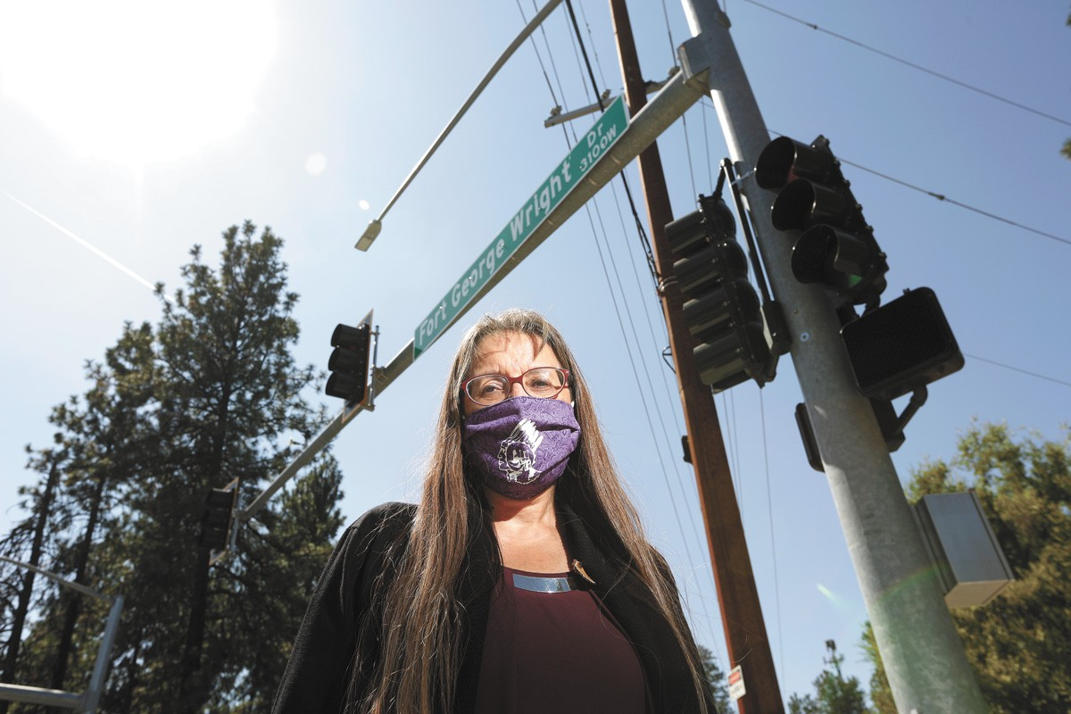 Spokane Tribal Council Chairwoman Carol Evans along what used to be Fort George Wright Drive. - YOUNG KWAK PHOTO