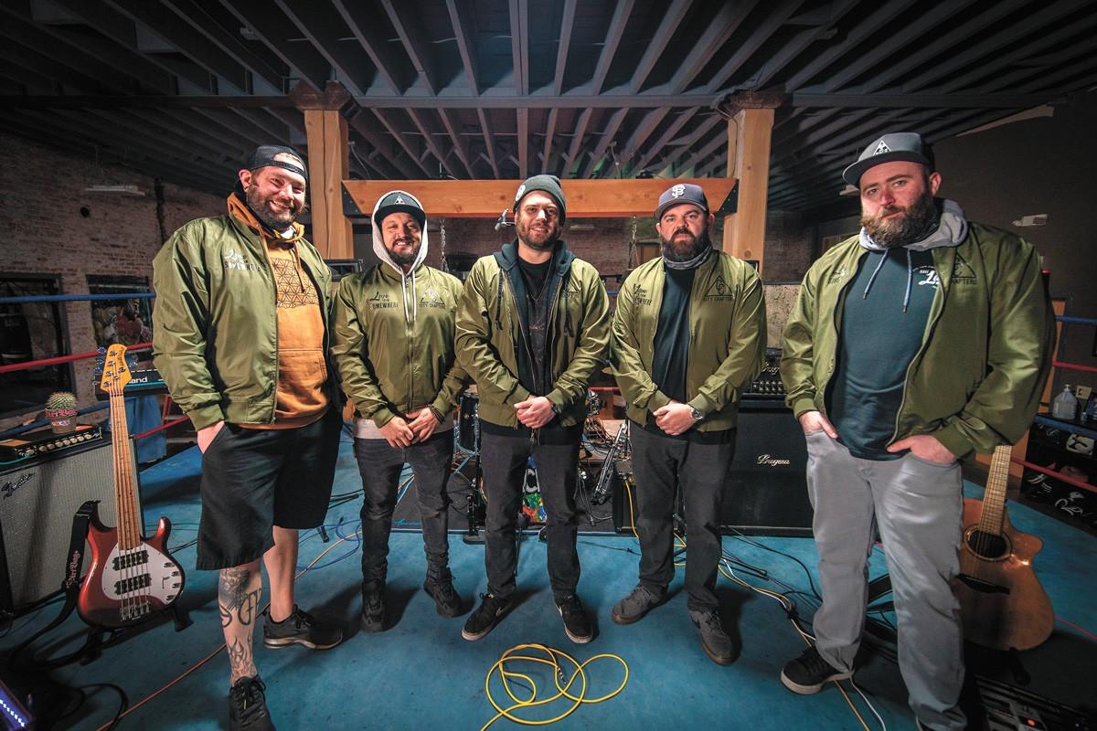 From left: Tyler Poole, Nik Michaels, Ryan Stocks, Adam Darling and Jon Kuritz of Live From Somewhere. - ADAM DARLING PHOTO