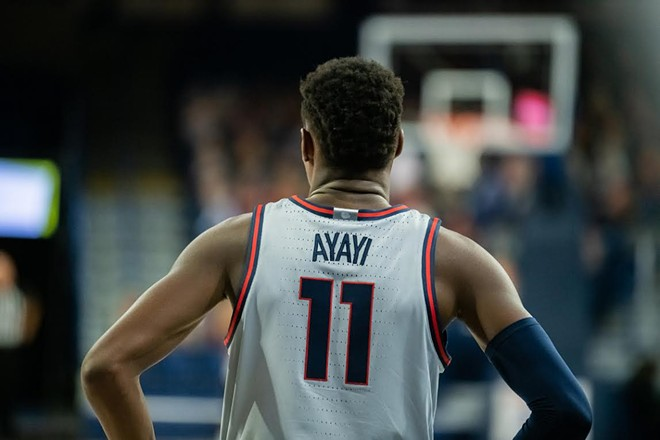 Joel Ayayi might not be the only Zag ever with a triple-double by season's end. - ERICK DOXEY
