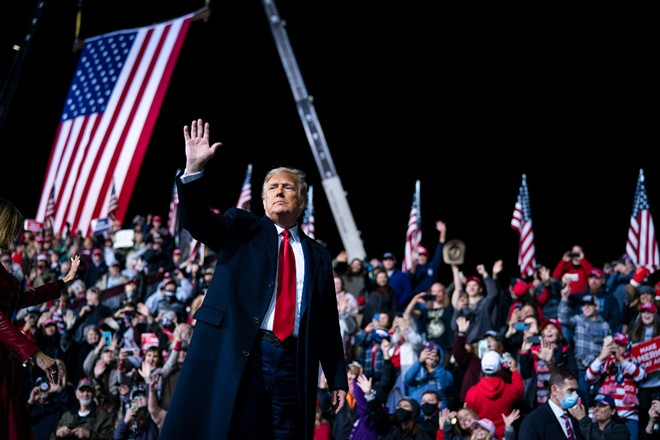President Donald Trump at a campaign event on behalf of Georgia's then Republican senators, Kelly Loeffler and David Perdue, at an airport in Valdosta, Ga., Dec. 5, 2020. Trump and the Republican Party raised $255.4 million in the eight-plus weeks following the Nov. 3 election, new federal filings show, as he sought to undermine and overturn the results with unfounded accusations of fraud. - DOUG MILLS/THE NEW YORK TIMES