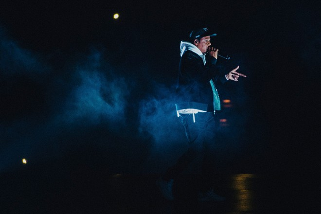 """Jay Z opens his """"4:44"""" tour at the Honda Center in Anaheim, Calif., Oct. 27, 2017. - ROZETTE RAGO/THE NEW YORK TIMES"""