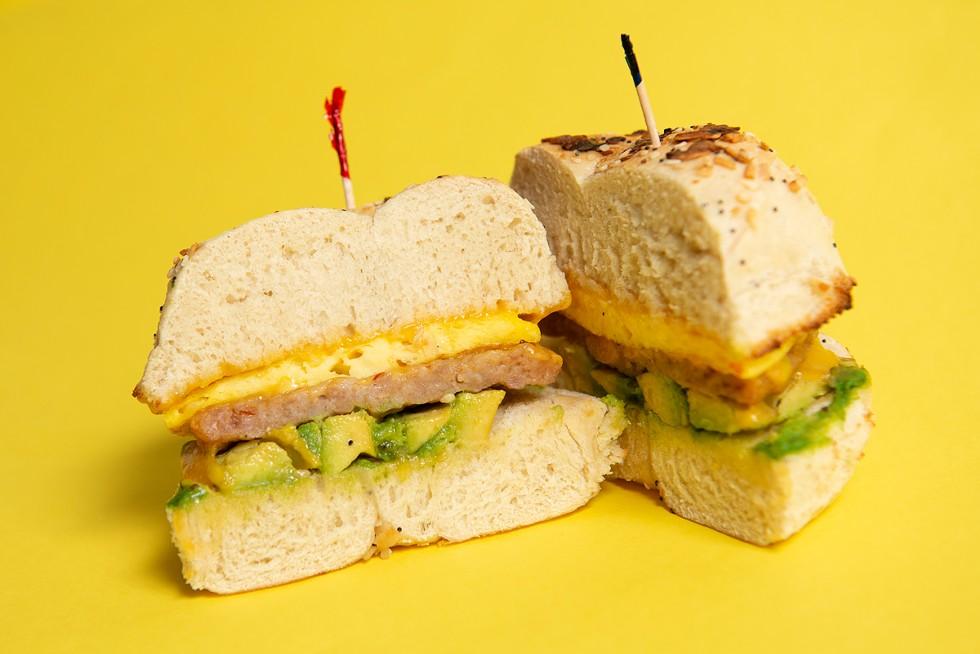 The Zegg breakfast sandwich from the Ultimate Bagel - DEREK HARRISON PHOTO