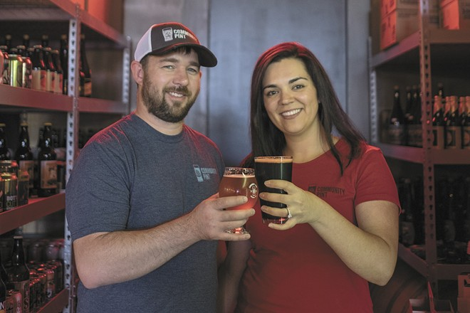 Garland Brew Werks owners TJ and Sarah Wallin pictured when Community Pint opened in 2017.
