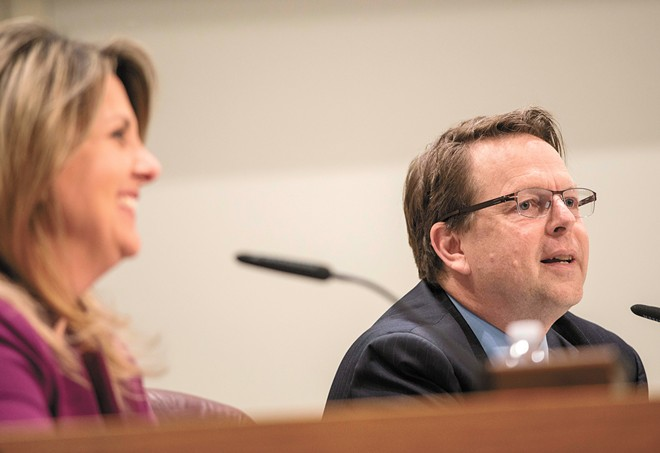 Spokane Mayor Nadine Woodward says the idea of bringing Breean Beggs (right) to the negotiating table came from the police union. - DANIEL WALTERS PHOTO