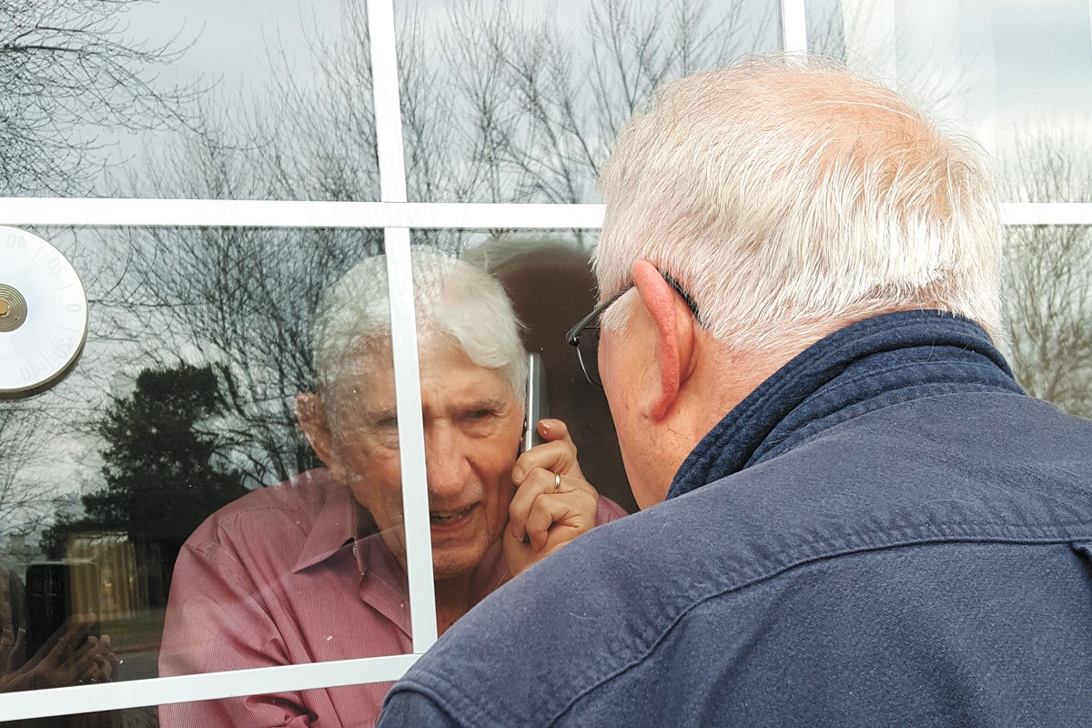 Jack Spears, 93, seeing his son for the last time. - BRENDA SPEARS PHOTO