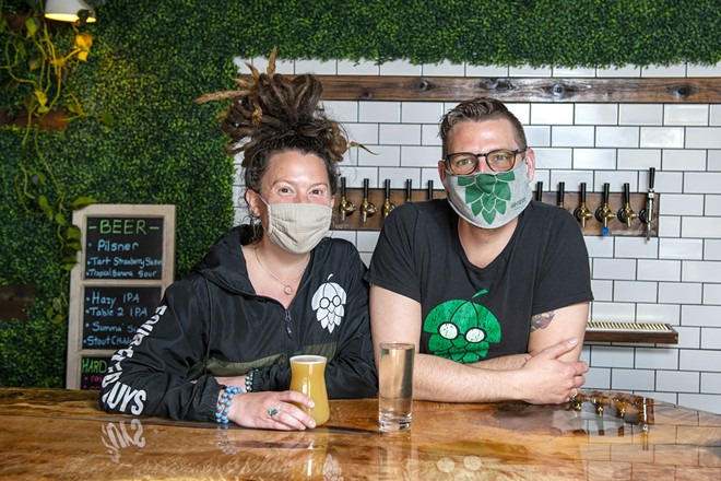 Owners Hillary and Alex Rausch at the seltzer-inclusive Four-Eyed Guys Brewing Co.