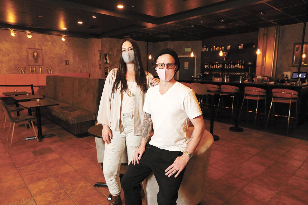 Owners Kori Henderson and Paul Blacketer at Whim Wine Bar. - YOUNG KWAK PHOTO