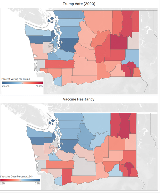 Liberal counties are doing a lot better than conservative counties at getting vaccinated - DANIEL WALTERS DATA VISUALIZATION
