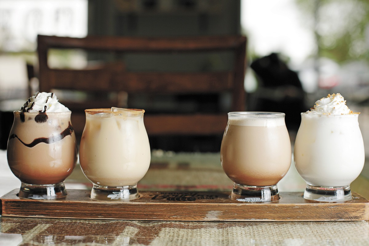 Tom Sawyer Country Coffee's coffee flight. - YOUNG KWAK PHOTO
