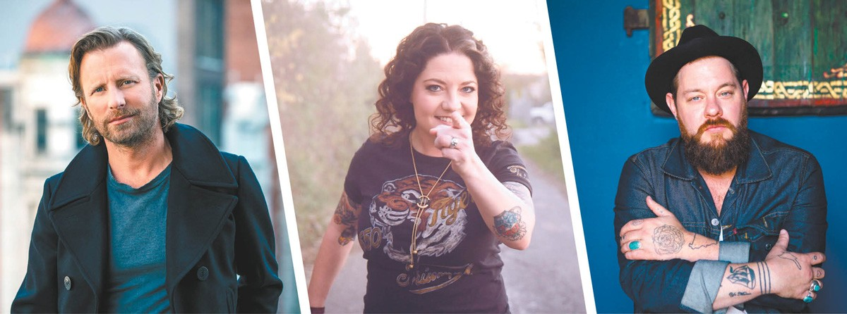 FROM LEFT: Dierks Bentley, Ashley McBryde and Nathaniel Rateliff all arrive this summer.
