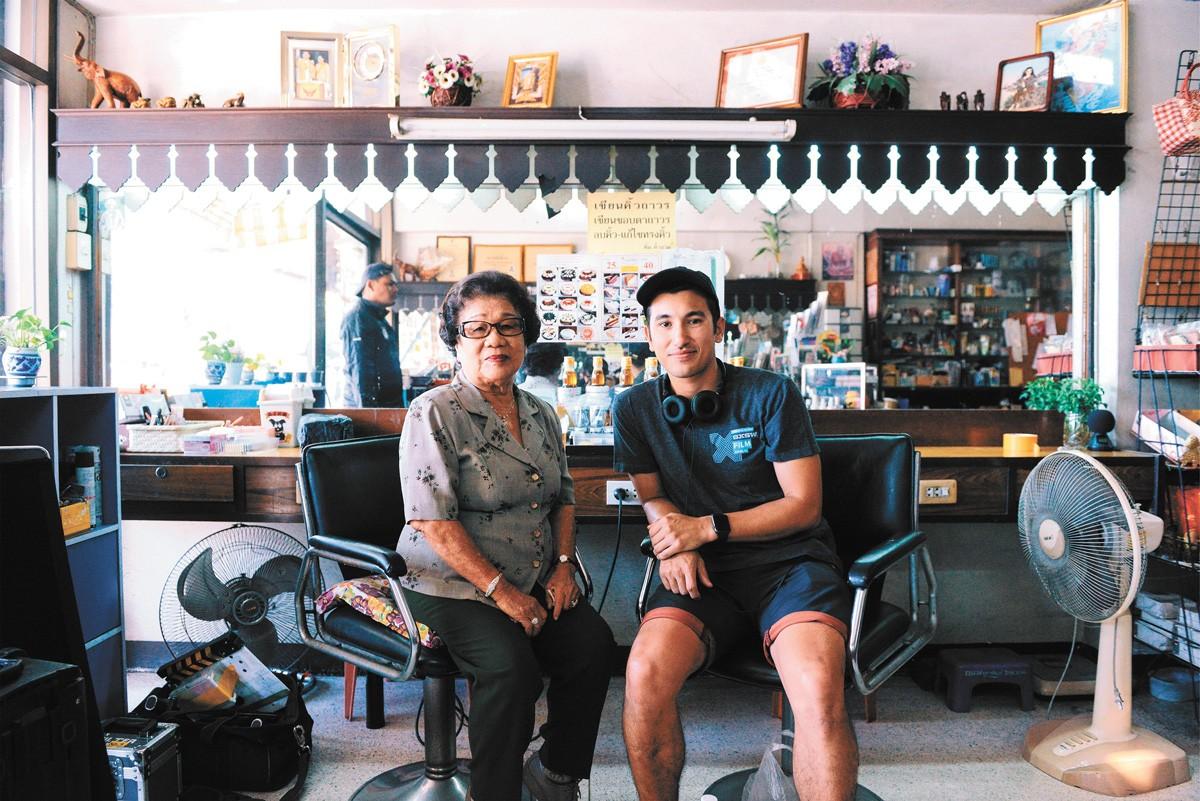 Filmmaker Champ Ensminger and his grandmother Ninlawan Pinyo.
