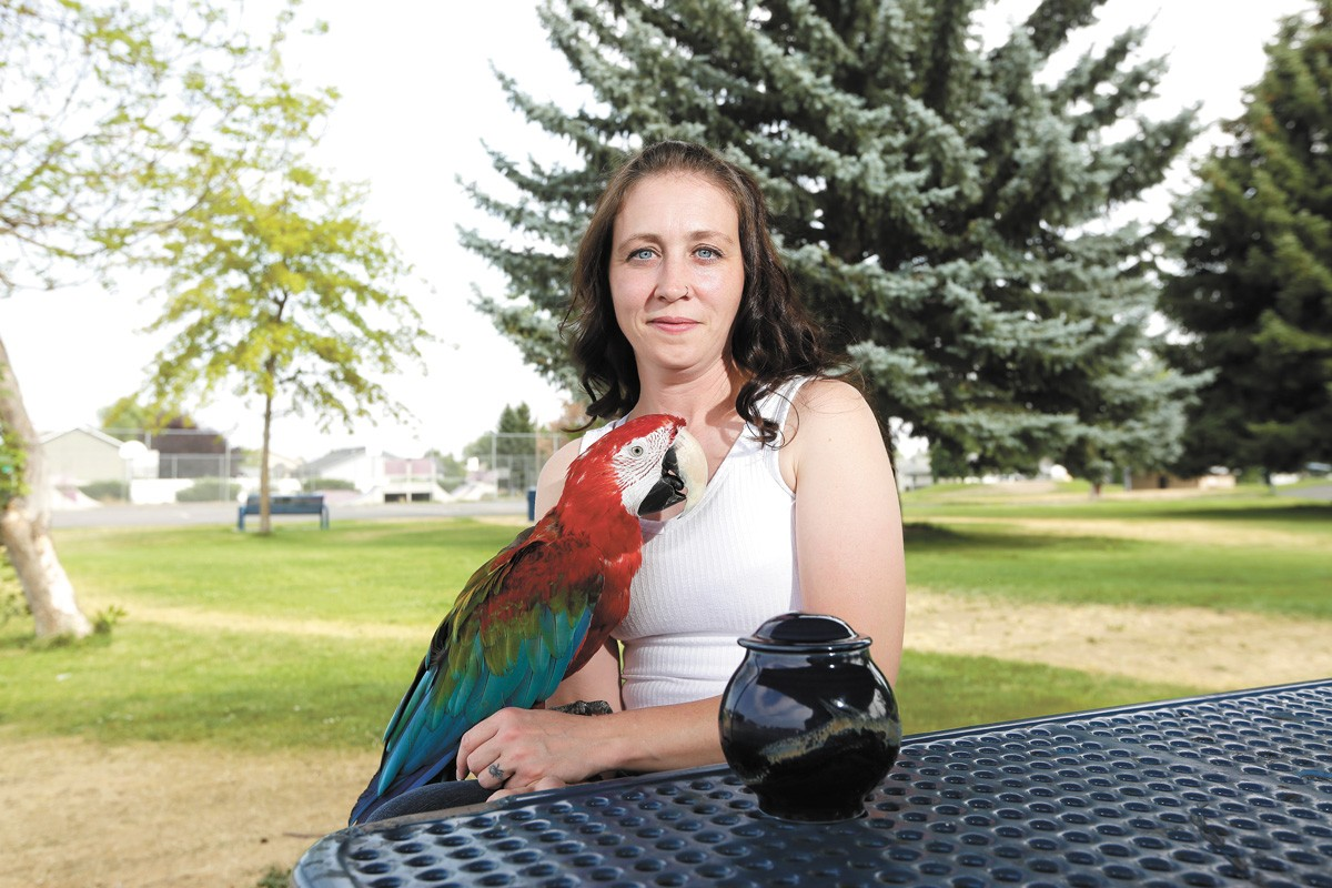 Amanda Brown, pictured here with Tobias and the ashes of Rio the cockatoo, says she's still grieving over Rio's death at Sparky's Bird Store. - YOUNG KWAK PHOTO
