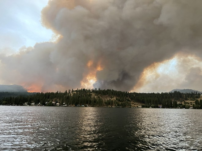 The Ford-Corkscrew fire started on Sunday near Ford, about 25 miles northwest of Spokane; the blaze more than doubled in size on Monday when this photo was captured. - HOUSTON TILLEY PHOTO