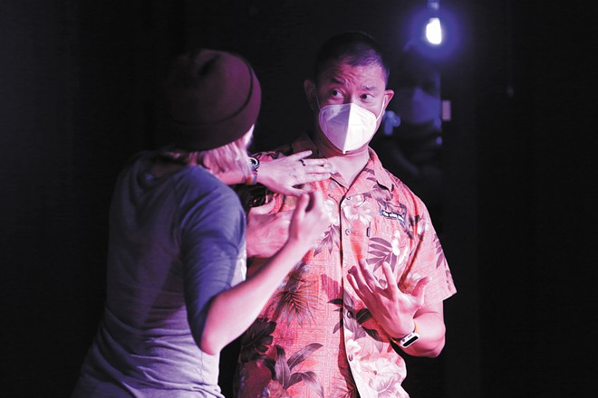 Frank Tano (right) and Liz Schroeder perform during the weekly PREDICTable show at Blue Door Theatre. - YOUNG KWAK PHOTO