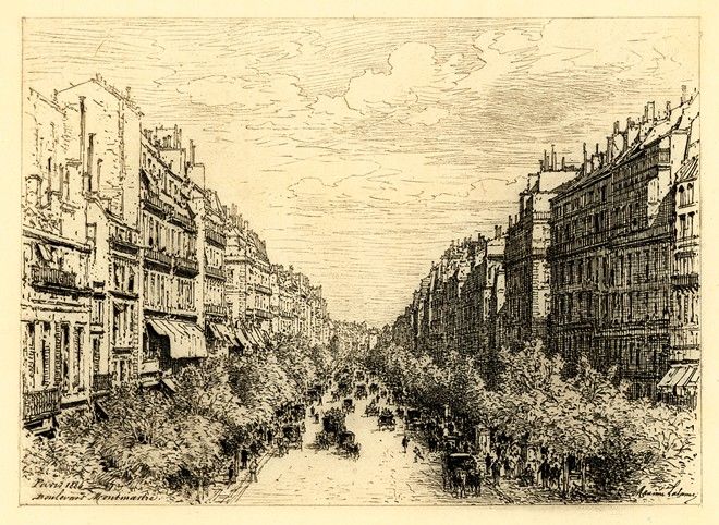 """François Antoine Maxime Lalanne's """"Boulevard Montmartre, 1884"""" at Jundt Art Museum's From the Collection: Art in the 19th Century."""
