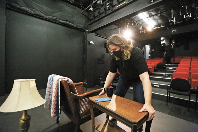 Squeamish is the first full-length play directed in Spokane by Lisa Edwards, and it's a multi-media challenge. - YOUNG KWAK PHOTO