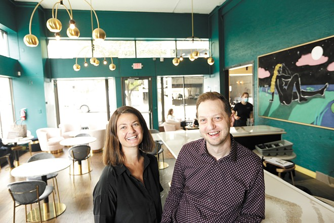 Owners Alyssa Agee (left) and Aaron Hein inside the newly opened downtown coffee and cocktail bar Emma Rue's. - YOUNG KWAK PHOTO
