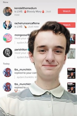 In a TikTok video, Lewis and Clark student Ayden Franklin shows a TikTok comment of his that got liked by Paris Hilton.