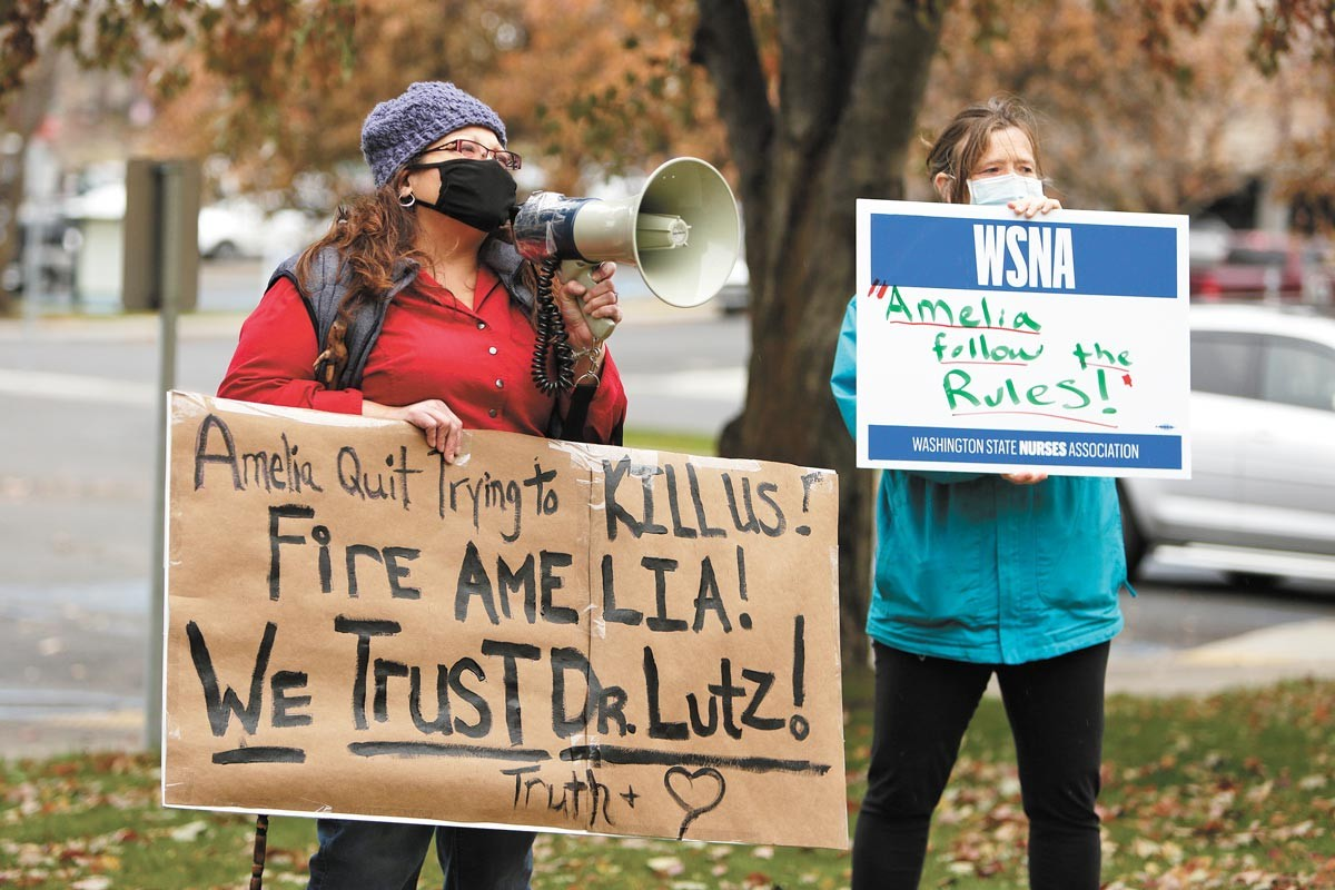Clark forcing out former Spokane County Health Officer Bob Lutz last year inspired passionate protests in Spokane. - YOUNG KWAK PHOTO