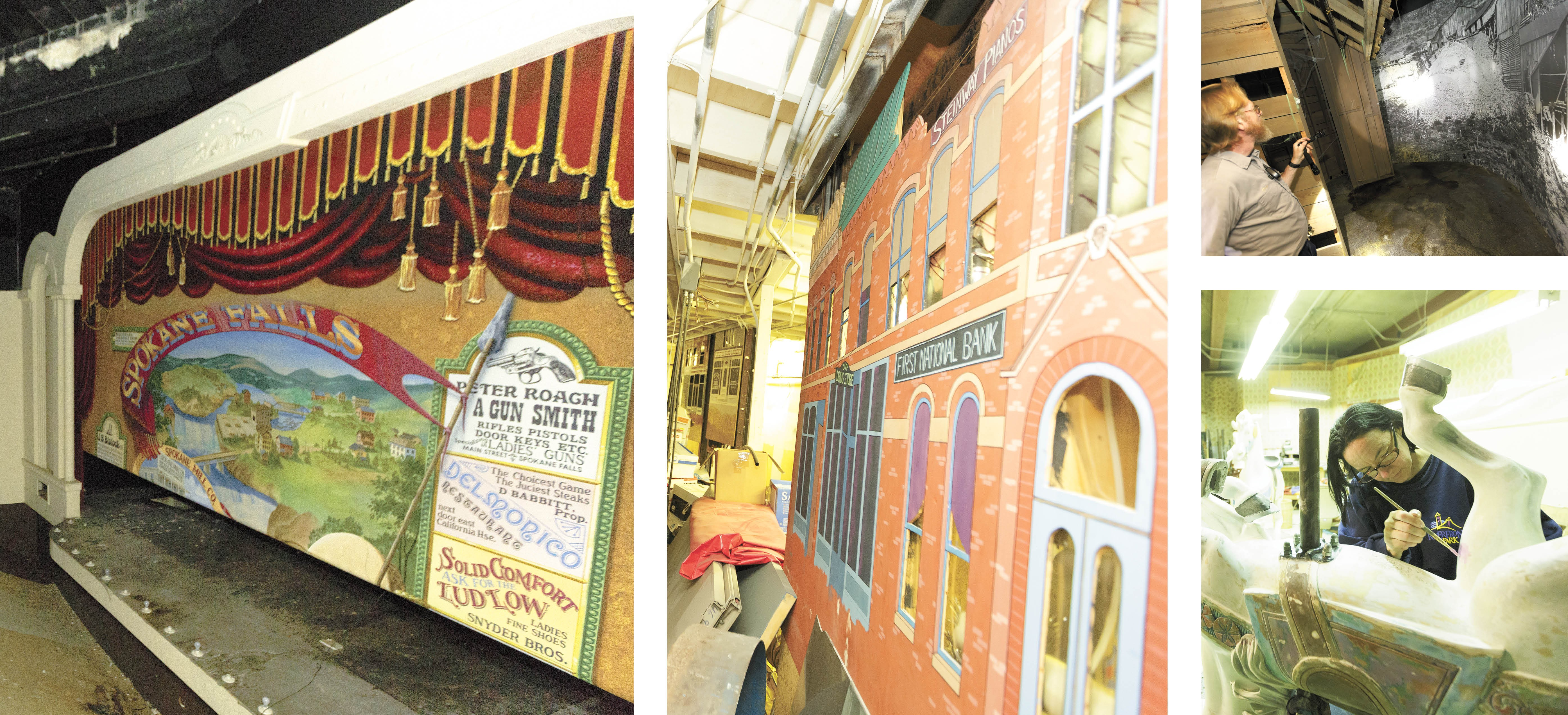 The Spokane Story exhibit included a pioneer-themed stage and a recreation of Spokane at the time of the Great Fire. TOP RIGHT: David Randolph, Riverfront Park's facilities foreman. BOTTOM RIGHT: Today the space is occupied by preservationists like Wendy Hayes, who keep the Looff Carrousel spinning. - YOUNG KWAK