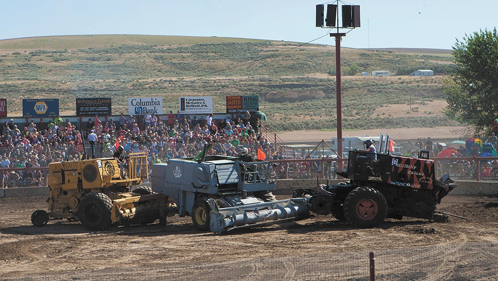 Crashing combines give the Lind derby something special to draw crowds to the annual event. - MEGHAN KIRK