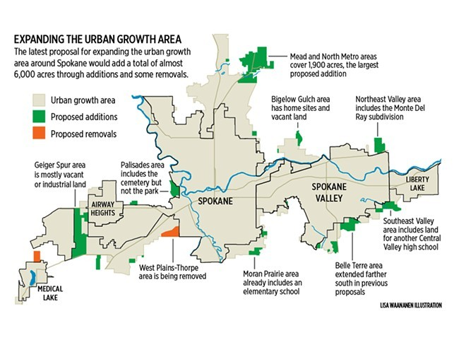An older proposal for expanding the Spokane County UGA in March of 2013, before the Spokane County increased its population projection.