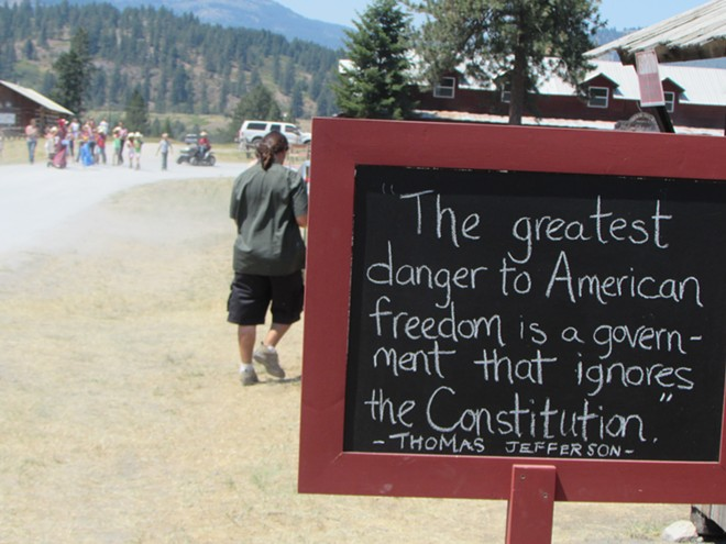 A spurious Thomas Jefferson quote at Marble Country's 21st Annual God and Country Celebration on July 4th. - DANIEL WALTERS PHOTO