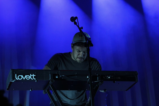 Ben Lovett, who is primarily a keyboardist and vocalist, wore a baseball hat from Walla Walla's own Whitman College. - MATTHEW SALZANO