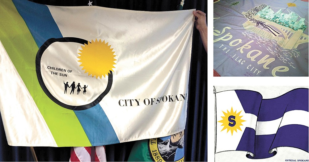 Spokane's current flag (above), along with the first (bottom right) and second city flags (top right).