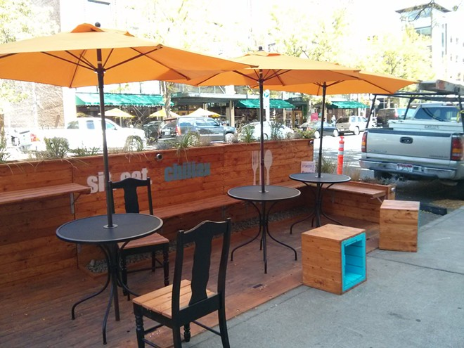 The new parklet on west Main outside of Wollnick's went up overnight on Wednesday, Sept. 2. - CHEY SCOTT