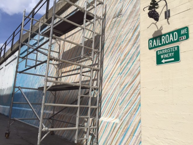 Addison Karl's contribution to the Spokane Arts Downtown Mural Project is now in progress. - MAX CARTER