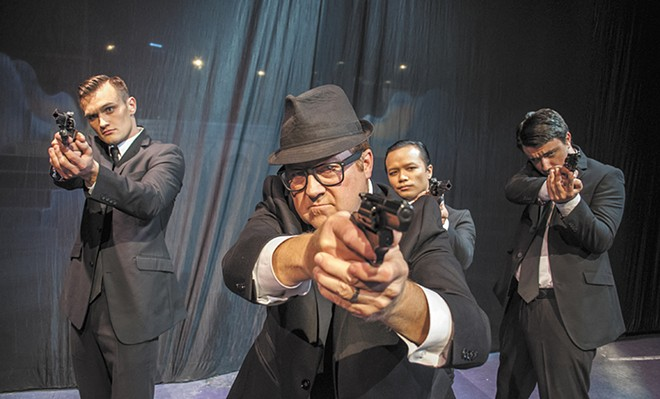 FROM LEFT: Easton Townsend, Michael Hynes, Denny Pham and Nathan Hoyt on the set of Catch Me If You Can. - SARAH PHILP