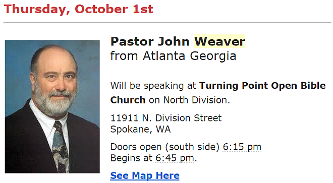 Controversial Georgian pastor John Weaver, as shared on the newsletter from the Northwest Grassroots